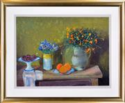 Sale 8401 - Lot 547 - Margaret Olley (1923 - 2011) - Still Life with Flowers, Plums & Oranges 65.5 x 88.5cm (frame size: 99 x 119.5cm)