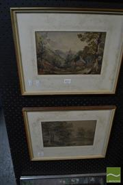 Sale 8471 - Lot 2037 - Unknown Artist (2 works) Landscapes, watercolours (AF), 16 x 20cm, each, unsigned, each