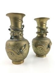 Sale 8545N - Lot 108 - Pair of Chinese Brass Dragon Vases