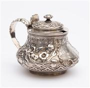 Sale 8590A - Lot 63 - A sterling silver George IV mustard pot with armorial maker Rebecca Eames & Edward Barnard, Height 7cm, London 1824, weight 218g