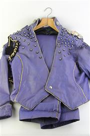 Sale 8796 - Lot 24 - Vintage Two Piece Leather and Rhinestone David Rockford Suit