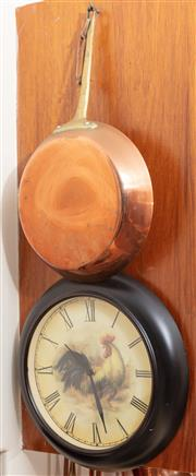 Sale 8926K - Lot 98 - A copper saucepan and rooster themed wall clock