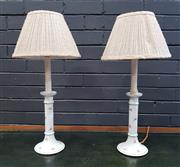 Sale 8996 - Lot 1004 - Pair of Ceramic Electric Candle Light Lamps (H: 53cm)