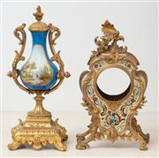 Sale 9070H - Lot 154 - A French gilt mantle clock case and a sevres style garniture piece, height of latter 28cm
