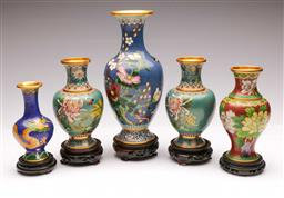Sale 9104 - Lot 36 - A Collection of 5 Cloisonne Vases on Timber Stands (H Tallest 26.5cm)