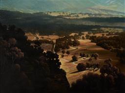 Sale 9116 - Lot 536 - Michael Taylor ( 1950 - ) Sunlit Valley, Megalong oil on canvas 88.5 x 119 cm (frame: 119 x 150 x 6 cm) signed lower right