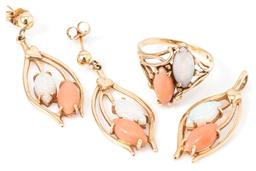 Sale 9149 - Lot 530 - A 14CT GOLD OPAL AND CORAL RING PENDANT AND EARRINGS SUITE; each set with a cabochon marquise cut white solid opal and pink coral, p...