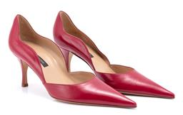 Sale 9186 - Lot 338 - A PAIR OF SERGIO ROSSI LEATHER HEELS; pointed toe with scalloped back, size 37 1/2.