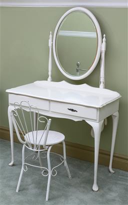 Sale 9190H - Lot 342 - A white painted two drawer dressing table with oval mirror and associated iron back chair, dressing table and mirro height 147cm x W...