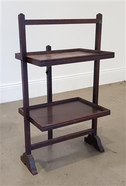 Sale 9215 - Lot 1022 - Early 20th Century Folding Cake Stand, with two larger rectangular shelves (h91 w:52 d:35cm)