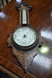 Sale 8093 - Lot 1740 - Victorian Rosewood & Inlaid Aneroid Barometer