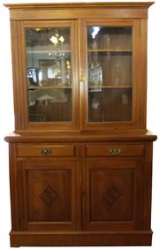 Sale 8258A - Lot 17 - Edwardian kauri pine two height bookcase, has two drawers, glass fronted cupboards to the top and two cabinets below, RRP $2250, W12...