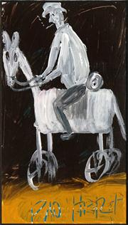 Sale 8449A - Lot 543 - Kevin Charles (Pro) Hart (1928 - 2006) - Stockman on Horseback 18 x 10.5cm