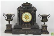 Sale 8481 - Lot 63 - Late Victorian Mantle Clock Garniture of Classical Form