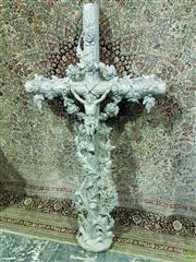 Sale 8559 - Lot 1065 - Large Silver Painted Cast Iron Crucifix, modelled overgrown by roses, bulrush & other flowers