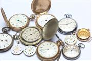 Sale 8673 - Lot 6 - A Group of Vintage Pocket Watches Movements and Cases