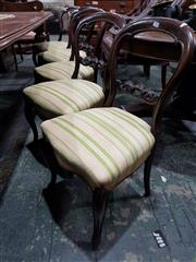 Sale 8714 - Lot 1085 - Set of Five Victorian Carved Walnut Balloon Back Chairs, on cabriole legs