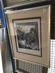 Sale 8811 - Lot 2055 - Artist Unknown - La Paloma, etching and aquatint, ed. 11/20 frame size: 58 x 48cm, signed lower right