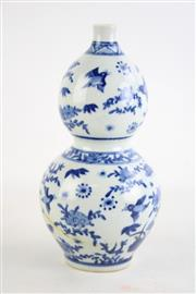 Sale 8849 - Lot 40 - A Blue and White Chinese Gourd Shaped Vase (H 24cm)