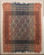 Sale 8863H - Lot 48 - A vintage kilim on stretched linen backing, backing frame is 214cm x 171cm