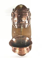 Sale 8897C - Lot 28 - Copper Water Fountain on Wooden Stand (height - 98cm)