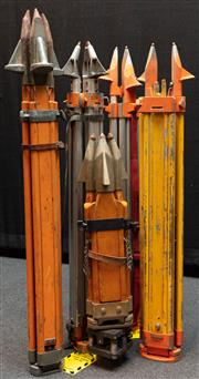 Sale 8984W - Lot 555 - A group of five non matching surveyors tripods including a small timber example