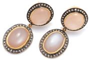 Sale 9046 - Lot 368 - A PAIR OF MOONSTONE AND DIAMOND EARRINGS; each 2 oval drops,15 x 17 & 18 x 15mm, centring cabochon moonstones surrounded by rose cut...