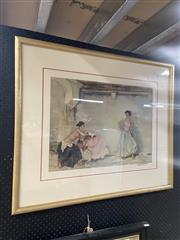 Sale 9061 - Lot 2052 - William Russell Flint, Flamenco Dancers decorative print, frame: 77 x 90 cm, signed lower right -