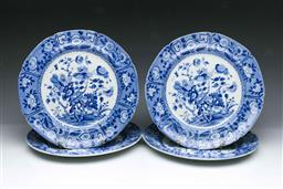 Sale 9093P - Lot 68 - Set of 4 Early C19th Spode Blue and White Floral Plates (1 x Chip), diam. 25cm.