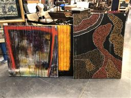 Sale 9147 - Lot 2077 - Three Contemporary Abstract Paintings incl. (2) by Griffis 101 x 101cm (2) signed; 120 x 90 cm(1)
