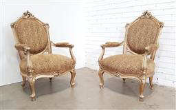 Sale 9179 - Lot 1029 - Pair of Large French Style Gilt Framed Armchairs, with scroll carved back, upholstered in leopard print fabric & raised on cabriole...