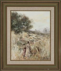 Sale 9163 - Lot 2039 - Anita Newman Country Solitude oil on canvas board 72 x 61cm (frame) signed lower right -