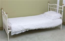 Sale 9190H - Lot 337 - A white painted metal single bed, Height 103cm x Width 94cm x Length 203cm