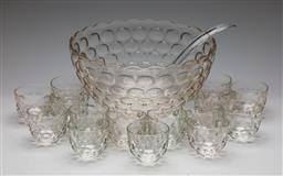 Sale 9253 - Lot 415 - Optic punch bowl (Dia:30cm) together with 15 matching cups and plastic ladle
