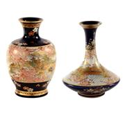 Sale 8000 - Lot 57 - Two Satsuma vases, one of squat baluster form finely painted with cherry blossom, the other similarly painted, both signed.