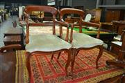 Sale 8050B - Lot 11 - Set of 10 antique style dining chairs, including two armchairs, with green velvet seats