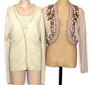 Sale 8173F - Lot 366 - BEADED LAUREL SILK AND CASHMERE TWINSET AND M&S CARDIAGAN; Laurel top 34, cardigan 38, and Marks & Spencer Limited Collection wool m...