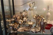 Sale 8189 - Lot 170 - Silver Plated 3 Piece Tea Set with Other Plated Wares incl. Cocktail Shaker