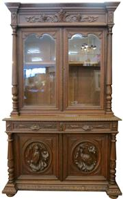 Sale 8258A - Lot 18 - French Henri II oak bookcase, two height with two drawers and heavily carved panels, circa 1890, RRP $3850, W149 x D62 x H244cm