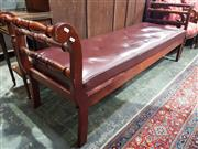 Sale 8774 - Lot 1082 - Late 19th Century Cedar Miners Settle, with turned side rails & loose red buttoned cushion