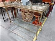 Sale 8904 - Lot 1019 - Pierced Brass and Glass Two Tier Hall Table