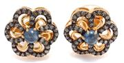 Sale 9046 - Lot 521 - A PAIR OF SAPPHIRE AND DIAMOND FLORAL CLUSTER STUD EARRINGS; each a 0.67ct cabochon blue sapphire surrounded by single cut diamonds...