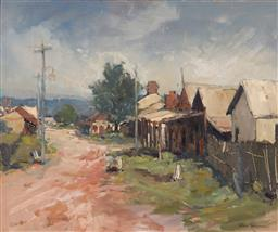 Sale 9180A - Lot 5020 - ALLAN HANSEN (1911 - 2000) A Silent Town (Study) oil on board 49.5 x 60 cm (frame: 67 x 77 x 6 cm) signed lower right