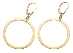 Sale 9186 - Lot 349 - A PAIR OF 18CT GOLD HOOP EARRINGS; circle drops on continental fittings, size 34 x 52mm, wt. 4.24g.
