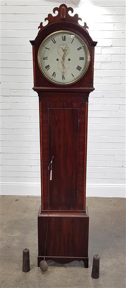 Sale 9215 - Lot 1083 - Regency Mahogany Longcase Clock, with two train movement, the unsinged painted dial with subsidiary seconds & date, within a hood wi...