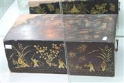 Sale 8032 - Lot 48 - Late 19th Century Japanese Export Lacquer Ware Writing Slope with Side Drawer & Fitted interior with Later Hand Painted Silk Insert