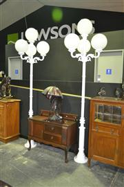 Sale 8165 - Lot 1006 - Pair of Tall White Metal Street Lights with 4 Glass Ball Shades