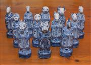 Sale 8368A - Lot 42 - A group of 12 blue and white Chinese Zodiac figures, H 21cm