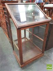 Sale 8428 - Lot 1081 - Unusual Late 19th / Early 20th Century Cedar Display Cabinet, with a hinged top & lockable glass panel door (key in office/ no glass...