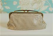 Sale 8448A - Lot 21 - Vintage cream Glomesh purse with gold frame Condition: very good to excellent Measurements: 20cm wide x 14cm high